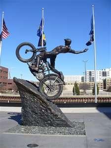 Harley Davidson Museum, Wisconsin ; Bronze statue.   http://dld.bz/WisconsinFun Find UR Fun: 155 y/o Miller Brewery, Harley Davidson Museum+++