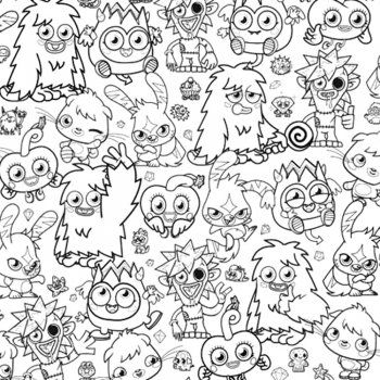 Fun4Walls Moshi Monsters Wallpaper Black / White