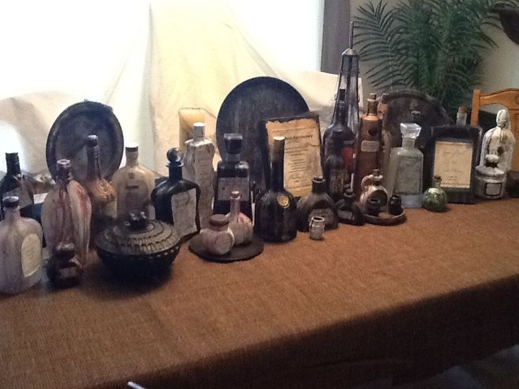 An Apothecary Shop Halloween Vignette It Runs The Length Of My Dining Room Table