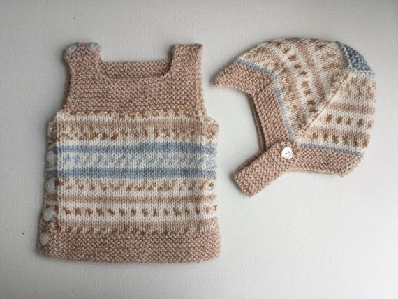 Hand knitted baby vest and hat set for NEWBORN by HandmadebyPrisca, £17.00