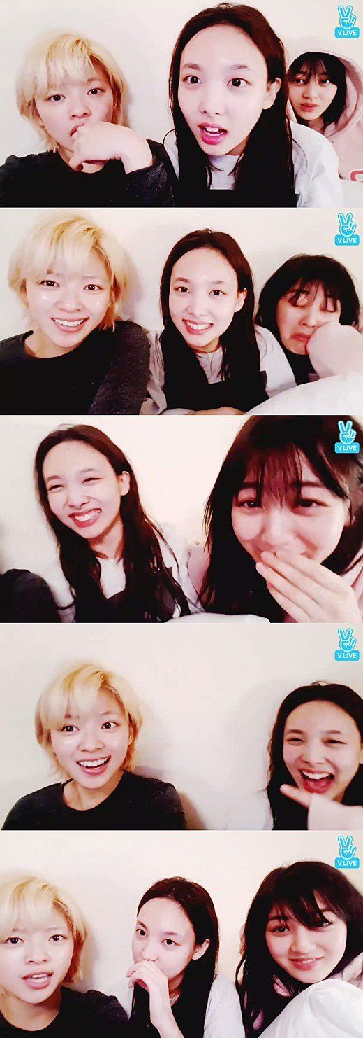 TWICE members Jungyeon, Nayeon and Jihyo greeted fans goodnight via Naver's 'V' app on March 27.The girls took the time to chat with their f…
