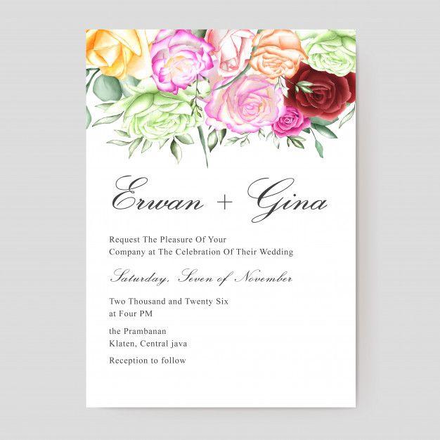 Watercolor Wedding Invitation Template Wedding Invitation Templates Floral Wedding Invitation Card Wedding Invitation Card Template