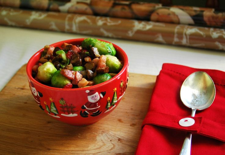 Brussel Sprouts with Bacon, Chestnut and Cranberries