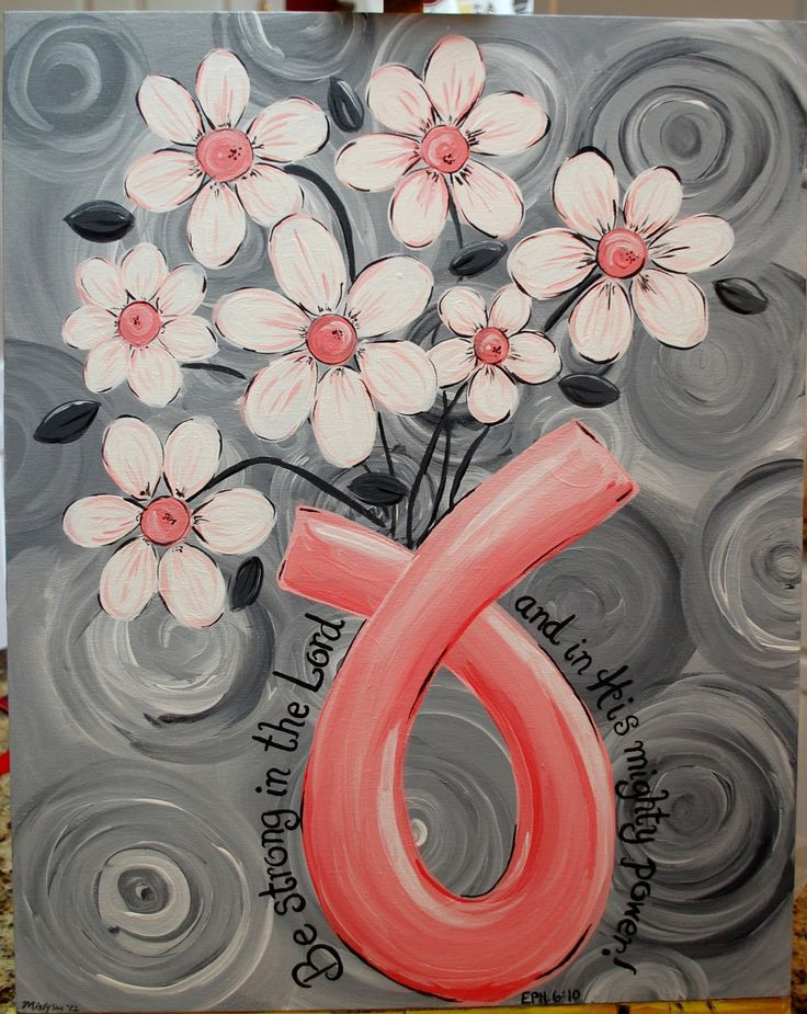 Love this!!  Breast Cancer Awareness Ribbon, Survivor Painting, Daisies, Flowers, Bible Verse, Scripture. $75.00, via Etsy.