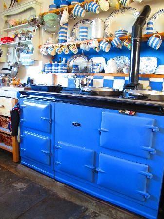 Blue AGA and Cornishware.