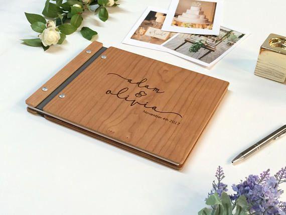 "Gastenboek bruiloft met hout gastenboek, Photo Booth gastenboek, rustieke gastenboek, houten gastenboek, gepersonaliseerde Foto Album 8.5 ""x 11"""