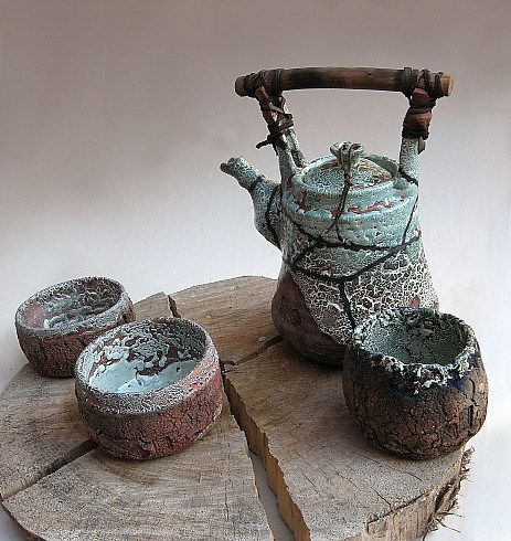 Teapot and tea bowls: Bowls So, Ceramics Bowls Pottery, Teas Cups, Maa Ceramics, Teas Pots, Beautiful Teas, Teas Sets, Teas Bowls, Fairies Teapots