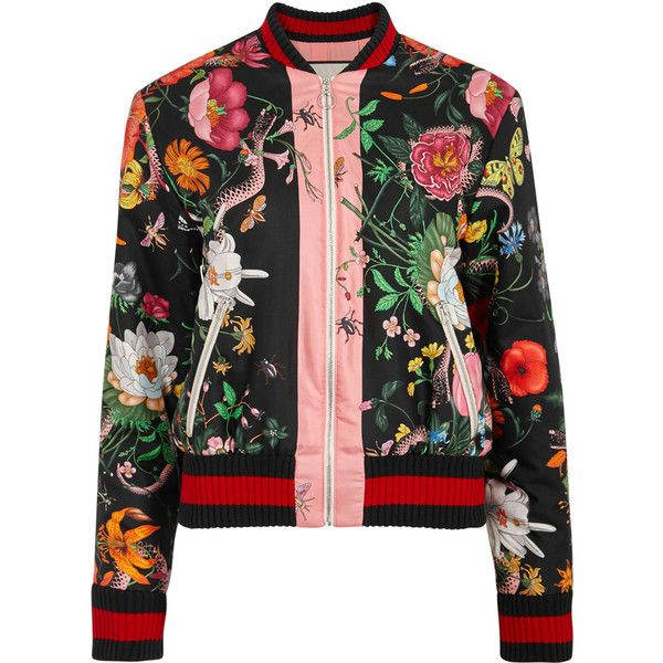 Gucci Floral-print silk bomber jacket ($2,015) ❤ liked on Polyvore featuring outerwear, jackets, coats, coats & jackets, floral jacket, snake print jacket, floral bomber jacket, flight jacket and zip bomber jacket