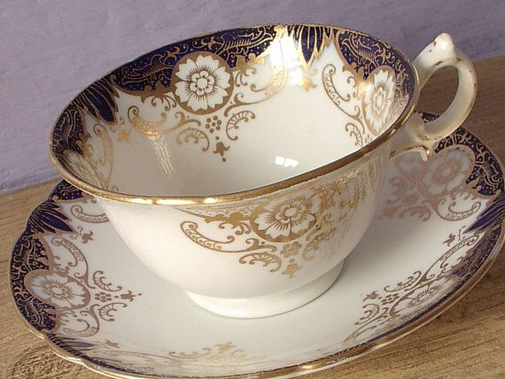 Antique 1890's Foley China company tea cup and saucer set, early Shelley, blue and gold tea cup set, English tea cup, Victorian tea cup set on Etsy, $89.00