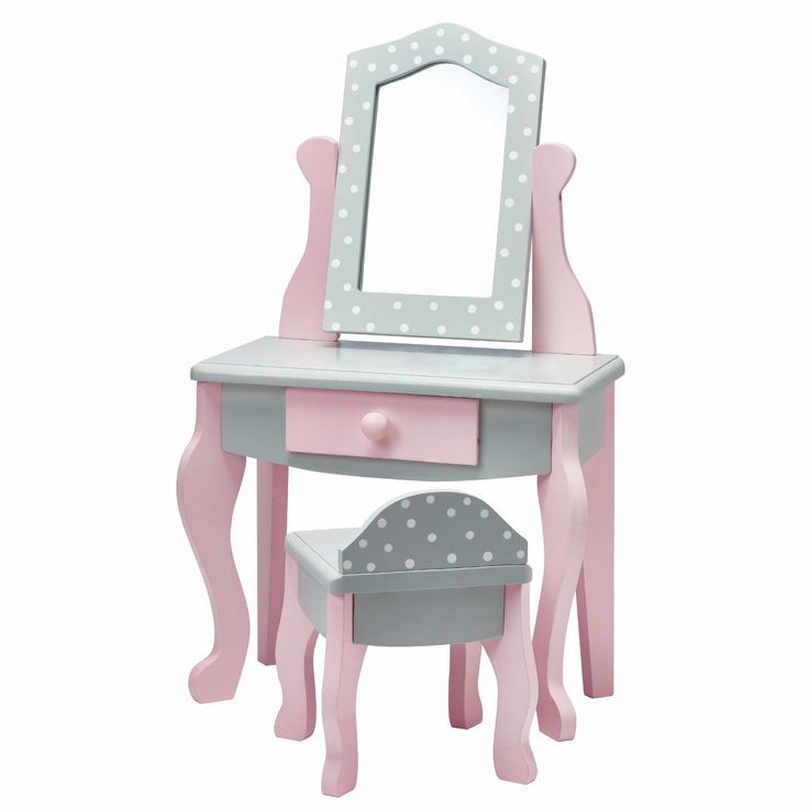 Teamson Olivia's Little World Vanity Table and Chair Set 18-inch Doll Furniture in Polka Dots