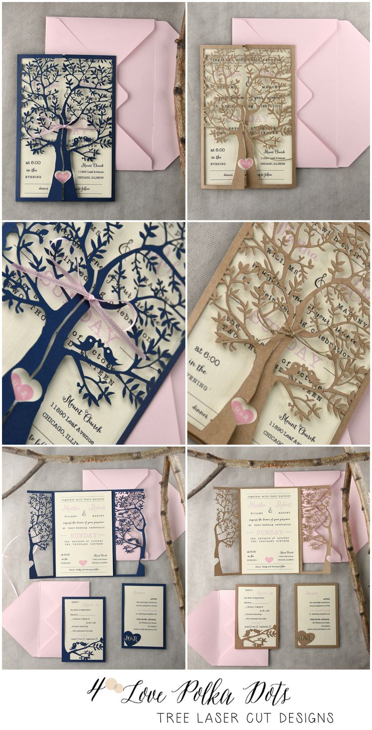 Laser Cut Tree Wedding Invitations In Two Color Schemes Sponsored
