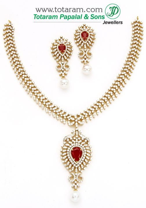 18K Gold Diamond Necklace & Earrings Set with Color Stones & Pearls DS590 - Indian Gold Jewelry from Totaram Jewelers