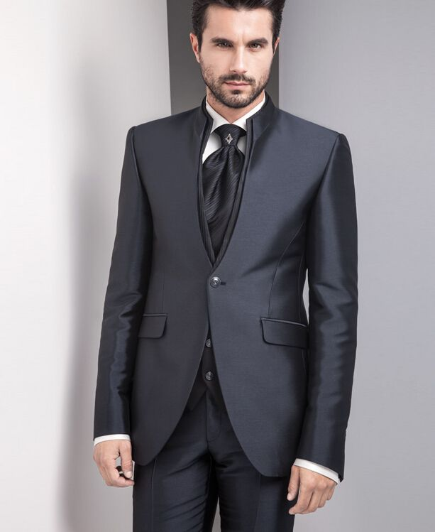 Click To Latest Coat Pant Designs Black Satin Stand Lapel Formal