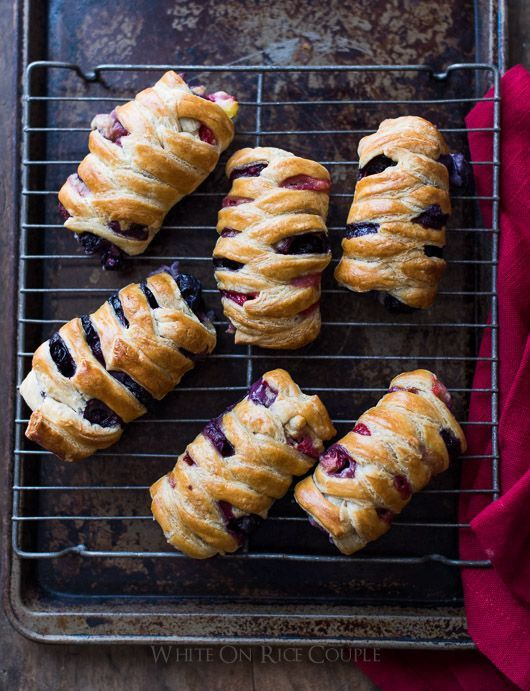 Homemade Strawberry/Blueberry Crossover Pastries via White on Rice Couple