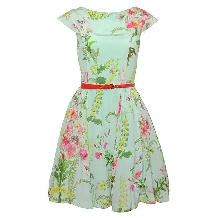 Create A Statement Of Style This Season With This Pretty Chadie Flower Print Dress In Mint