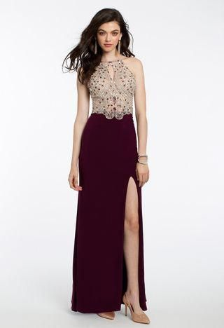Fall head over heels for this ethereal evening dress! The beaded halter neckline, keyhole front, and beaded bodice give this flawless prom dress a totally glam look. Finish off the ensemble with black heels, a rhinestone ring, and a silver clutch.• Beaded halter neckline• Beaded bodice• Keyhole front• Side slit #Promheels