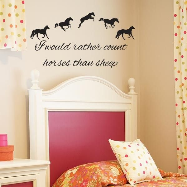 I would rather count horses than sheep Wall Decal | Wall Decal World | Perfect for anyone who loves horses!