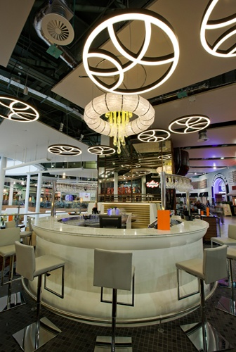 Round Corian counter at Chaobaby in the Meadowhall Shopping Centre, Sheffield.