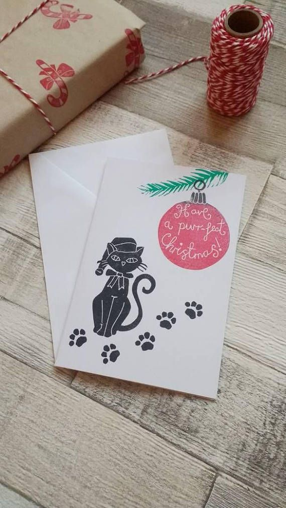 Christmas cat card Purfect Xmas card Pet Christmas Card