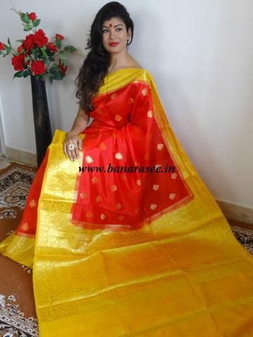 7f6c91c9ddcdcf Banarasee Handloom Pure Dupion Silk Saree With Contrast Yellow Floral Border    Pallu-Red