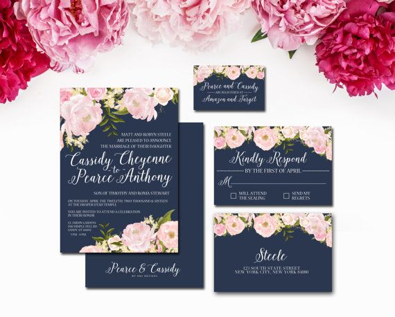 Navy and Blush Wedding Invitation Suite by SubwayArtNouveau