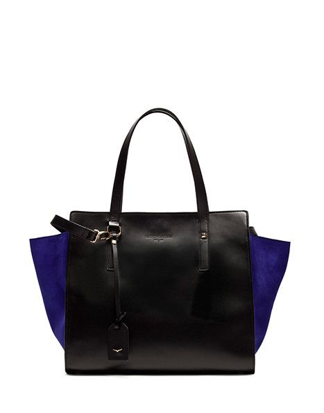 SHOPPING BAG IN CALFSKIN LEATHER AND BLUE ROYAL SUEDE - Shoes Woman - Alberto Guardiani
