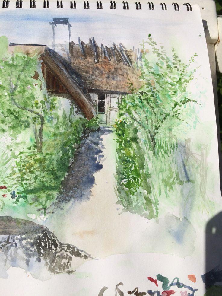Gammelgård Garden Path Sketch. 2015 by Elisabeth Kitzing
