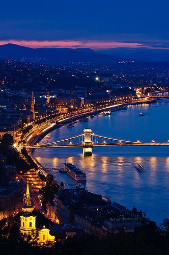 Night view of Budapest. Taken from the Gellért Hill overlooking the Chainbridge.
