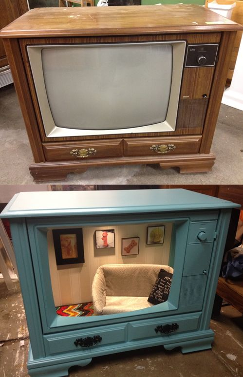 Jay made this awesome dog/cat bed out of an old tv!!                                                                                                                                                                                 More