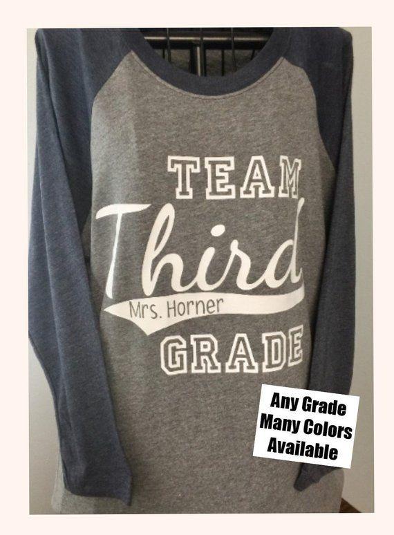 40951c28e Grade Level Team Personalized Adult Unisex Raglan Baseball Style Shirt  Teachers-Kindergarten, First,