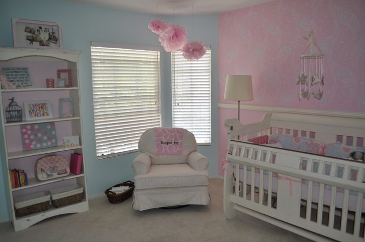 A cohesive, simple and budget-conscious nursery with pinks and blues featuring our Generation Next Safety-Gate Crib.  #GenerationNext #crib #baby #nursery #babysdream #pink #blue