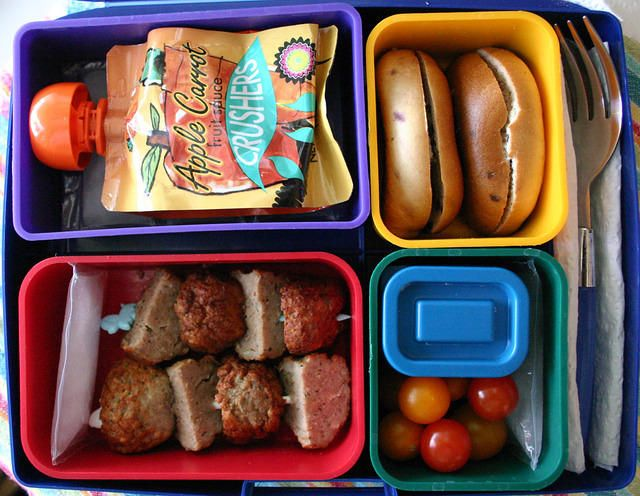 The boy does love meatballs....             Meatballs and Mini Bagels Laptop Lunches Bento