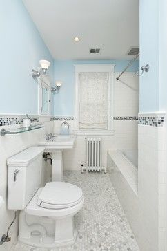 White Subway Tile With Colored Accent Tiles Traditional Subway Tile Bathroom Traditional Bathroom