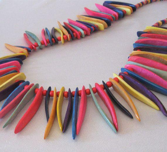 rainbow spikes wood bead necklace