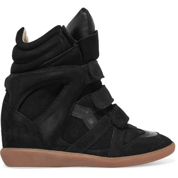 Isabel Marant Bekett leather-trimmed suede wedge sneakers ($600) ❤ liked on Polyvore featuring shoes, sneakers, black, suede shoes, hidden wedge heel sneakers, black suede sneakers, wedge sneakers and black shoes