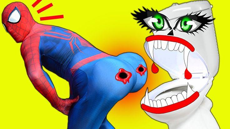 Spiderman VAMPIRE TOILET ATTACK! Spiderman BIG BUTT & Frozen Elsa vs Mum...