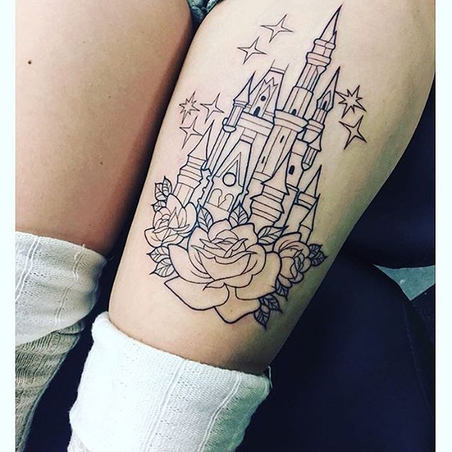 This outlined castle is gorgeous! It's gonna be so pretty all colored in :) done by @azha on @larsongraham #inkeddisney
