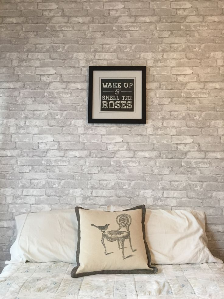 loving this feature wall made with white brick removable wallpaper - Brick Wallpaper Bedroom Ideas