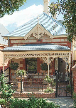 Dwell Feb. 2012    1880 Victorian Bungalow in North Adelaide, Australia.  The owners hardly touched the front of their house, an 1880 sandstone and brick Victorian with galvanized iron ornamentation.  The back, however, is a different story.  The shape of the roof eave is designed to allow winter sun into the house while cutting out the hot summer sun.