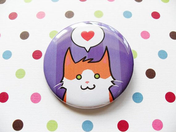"""Orange & White Cat Pin for Charity by SliceofOrange on Etsy, $3.00. Fundraising for Forgotten Ones Cat Rescue: a local no-kill rescue group and charity, run solely by dedicated volunteers. Instead of """"buying"""", you're making a donation and receiving a token of your choice as thanks! Homeless cats will be very happy! More information is available on their website: http://www.forgottenones.ca"""