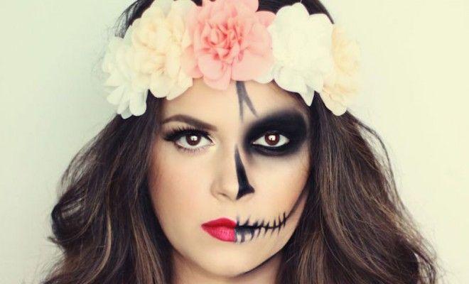 15 Stunning Día De Los Muertos Makeup Ideas   halloween, halloween costume ideas, halloween makeup, skeleton makeup, skull candy, skull candy makeup, DailyBeautyHack.com