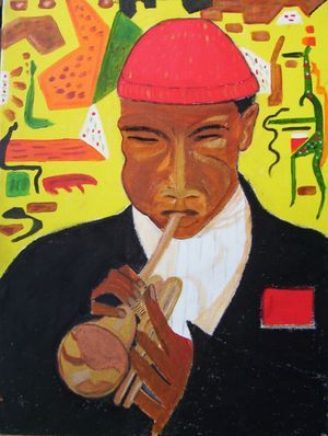 Don Cherry plays - Acrylic on canvas 2002