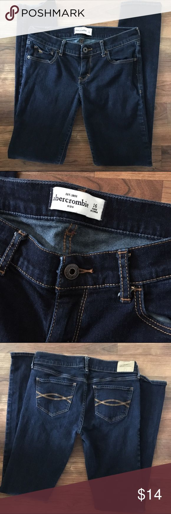 "Abercrombie Girls Size 16 Skinny Jeans EUC These are like new! I bought for my daughter and she still refuses to wear denim. They are Abercrombie girls size 16 Skinny Jeans in a dark rinse. Denim is 99% cotton, 1% spandex and the waist measures 14"" across laying flat with an inseam of 29.5"". They were never worn, just brought home and washed and she would not wear them. Thank you for looking! ☺ 🚫trades 🚫lowball offers abercrombie kids Bottoms Jeans"