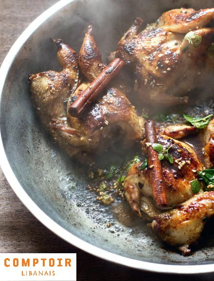 Cinnamon-marinated quail/ recipe from Comptoir Libanais/  with pomegranate molasses, orange, sesame seeds, olive oil, honey... #dinner #supper