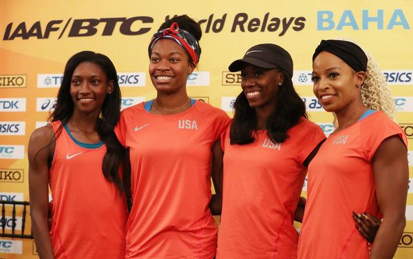 Quanera Hayes Photos Photos - Team USA Women's 4x400 athletes (L-R) Phyllis Francis, Quanera Hayes, Ashley Spencer and Natasha Hastingstake part in a press conference prior to the IAAF / BTC World Relays Bahamas 2017 in the Governor's Ballroom at the Hilton Nassau Hotel on April 21, 2017 in Nassau, Bahamas. - IAAF / BTC World Relays Bahamas 2017