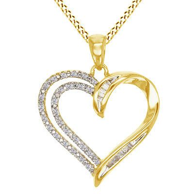 Diamond 164331: 1/8 Ct Round And Baguette Natural Diamond 10K Yellow Gold Heart Pendant Necklace BUY IT NOW ONLY: $323.98