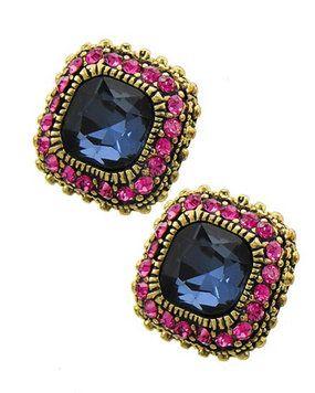 Montana Blue Glass Pink Rhinestone Fashion Square Stud Earrings