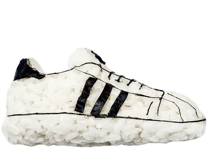 ADIDAS ORIGINALS 'Simple Rice' Superstars.  HUM PRESENTS 'SUSHI SNEAKERS' BY YUJIA HU.  Available to purchase for a limited time at www.humlikes.com