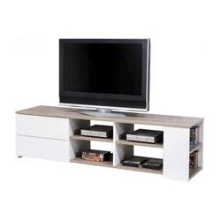 Meuble TV Chêne Griffé Blanc DECLIKDECO - Meuble TV