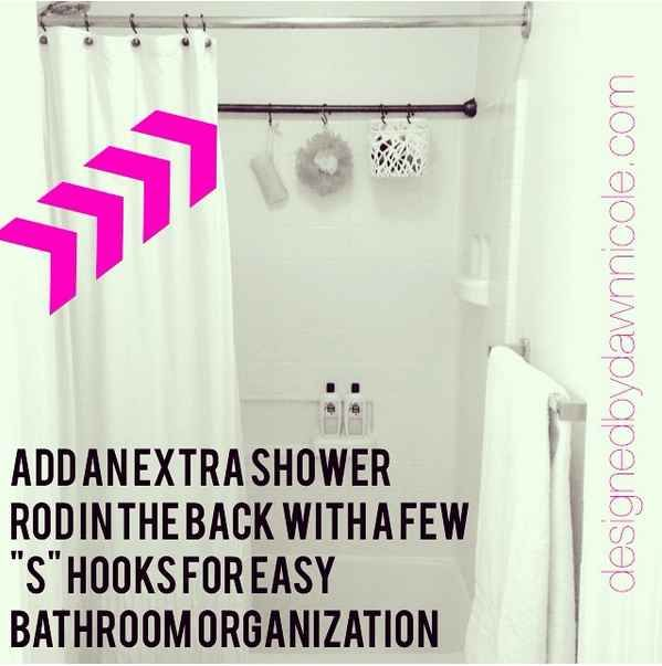 Hack your shower storage by adding a second curtain rod.